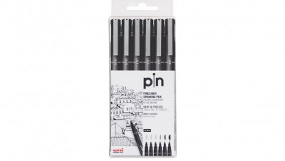 Uni Pin Fine Liner Markers - 6 pc Set