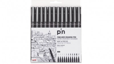 Uni Pin Fine Liner Markers - 12 pc Set